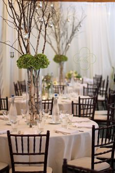 wedding theme/colors- forest woodsey gray red and white candles hanging from branches
