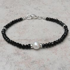 Faceted Black Tourmaline Bead Bracelet with Cultured Freshwater Pearl and Sterling Silver