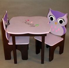 Owl Little Girls Table and Owl Chair Set by GreatCustomFurniture, $213.00