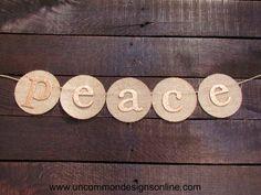 Peace Burlap Christmas Garland by UncommonFabrics on Etsy, $16.95