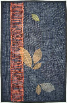 Japanese Leaf art quilt with sashiko by Shirley MacGregor