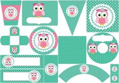 Pink Owl in Green Backgrounds with Polka Dots Quinceanera: Free Printable Mini Kit.