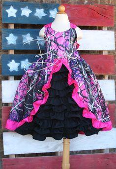 585e8b5fca7 Girls custom boutique camo ruffle dress made with Muddy girl