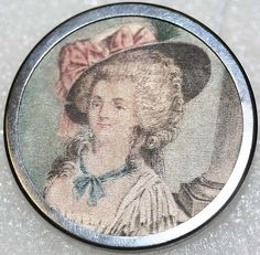 ca 1780 French button of printed silk under glass, set in metal.