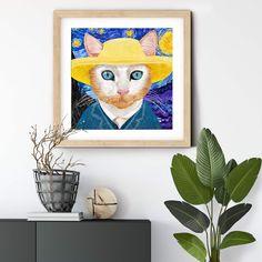 VanGogh inspired #cat #art #gicleeprint on fine art paper. #autism #autismawareness #catprint #catart walldecor #wallart #artprintsforsale #artprint #catlovers #cats #catdecor