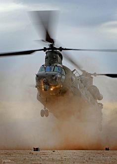 Chinook helicopter from18 (B) Squadron practising desert landing during Exercise Vortex Warrior.18 (B) Sqn are based at Royal Air Force Odiham, Hampshire