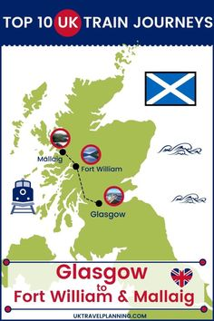 Traveling the UK by rail is a wonderful way to see the country. Check out our top 10 train trips and scenic rail journeys to take across the UK. Glasgow to Port William and Mallaig #UK #travel #trains #rail #railway Edinburgh Travel, Scotland Travel, London Travel, Uk Rail, Journey Mapping, Fort William, Train Journey, Train Travel, Glasgow