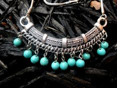 #Turquoise Drop #Necklace  #Bohemia #Tibet Style by Fusionable on Etsy, $22.00