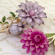 Plum Petals - Vintage Flower Stem Pin/ Brooches  | eBay