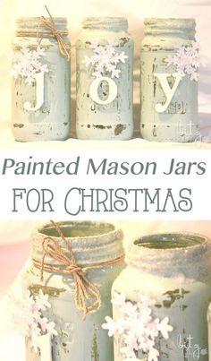Painted Snowy Mason Jars.