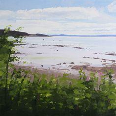 View to Edinburgh from St Bridget's Church, Dalgety Bay Paintings I Love, Oil Paintings, Landscape Paintings, Landscapes, St Bridget, Ocean Art, Stone Painting, Edinburgh, Beaches