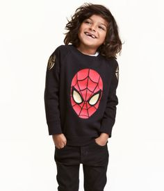 Black/Spiderman. Long-sleeved sweatshirt with a printed design. Raglan sleeves and ribbing at cuffs and hem.