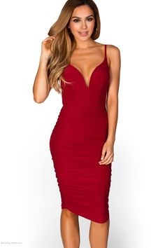 Ruched Spaghetti Strap Bodycon Burgundy Midi Dress with Plunging Sweetheart Neckline