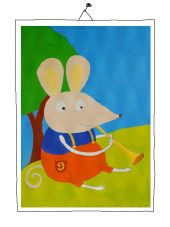 mouse playing trompet Tweety, Mixed Media, Illustration, Painting, Fictional Characters, Art, Painting Art, Art Background, Illustrations