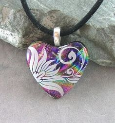 Floral Dichroic Fused Glass Heart Pendant. By Marsha Treacey of  J M Stained Glass.  Delphi Artist Gallery