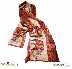 "22 x 70 Wildlife Jewels® ""Alexandrite The Rhino"" Arte Scarf in Silk Twill Rhino Art, Alexandrite, Ancient Architecture, Kimono Top, Wildlife, Jewels, Silk, Beauty, Tops"