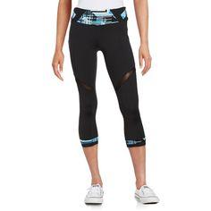 Calvin Klein Performance Printed Cropped Leggings ($49) ❤ liked on Polyvore featuring pants, leggings, blue, cropped pants, elastic waistband pants, mesh inset leggings, mesh insert leggings and mesh panel leggings