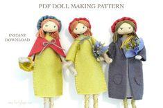 Verity Hope felt doll pattern / bendy doll / by VerityHope on Etsy Yarn Dolls, Felt Dolls, Paper Dolls, Felt Doll Patterns, Sewing Patterns, Stitch Doll, Doll Making Tutorials, Pretty Hands, Doll Tutorial