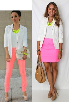 J's Everyday Fashion: Today's Everyday Fashion: Save the Date  #blazer #neon #skirt
