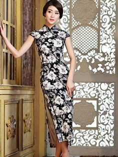 Classic Floral Pattern Qipao Full Length Evening Gown - iDreamMart.com