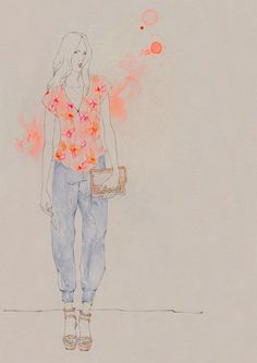 Fashion Illustration by Emma Leonard for Rebecca Taylor Spring 2013 Drawing Journal, Art Sketchbook, Emma Leonard, Fashion Sketches, Fashion Illustrations, Hawaiian Print, Happy Fun, Rebecca Taylor, Fashion Art