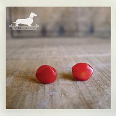 Red Rocks Post Earrings  Red Studs Small Cute by PickleDogDesign, $6.50
