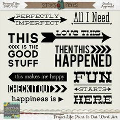 Project Life: Point It Out Word Art PU/S4H/S4O [JE_PLPIO] - $2.99 : Scraps N Pieces Store