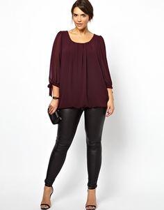 Plus Size New Look Inspire Long Sleeve Bubble Hem Top