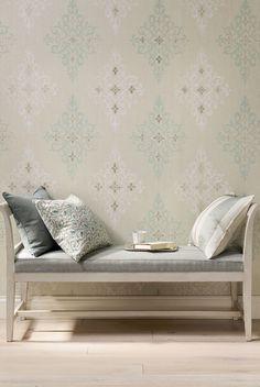 Holmwood Luxury Wallpaper from Nina Campbell. A diamond shaped damask motif printed with a slightly distressed effect. Hall Wallpaper, Luxury Wallpaper, Contemporary Wallpaper, Wallpaper Ideas, Nina Campbell Wallpaper, Room Color Schemes, Textiles, Wall Treatments, Home Accessories
