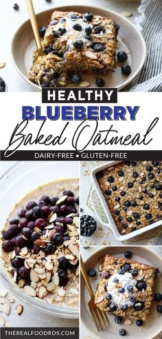 Healthy Blueberry Baked Oatmeal is the best make-ahead breakfast.  Made with bananas, gluten-free oats, fresh or frozen blueberries, and is a healthy hearty breakfast that will keep you full all morning.  || The Real Food Dietitians || Healthy Hearty Breakfast, Vegan Breakfast Options, Healthy Oatmeal Recipes, Best Breakfast Recipes, Make Ahead Breakfast, Vegan Recipes Easy, Brunch Recipes, Sweet Recipes, Real Food Recipes