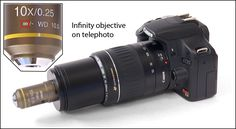 """Hooking a microscope objective to DSLR camera.(3) The Nikon CFI Plan Achromat 10X NA 0.25 objective has proved to be an excellent lens for this purpose. It delivers its rated magnification when used with a 200 mm telephoto or """"tube"""" lens."""