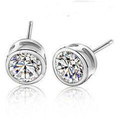 925 sterling silver super flash silver earrings fine 6mm stud earrings