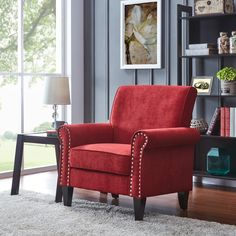 Shop Copper Grove Herve Brick Red Velvet Arm Chair - On Sale - Overstock - 24257836 Living Room Red, Accent Chairs For Living Room, Living Room Decor, Red Leather Chair, Red Velvet Chair, Traditional Living Room Furniture, Upholstered Accent Chairs, Velvet Armchair, Inspiration