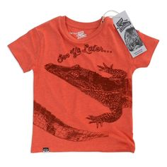 T-Shirt Crocodile Red by Organic Brand Lion of Leisure