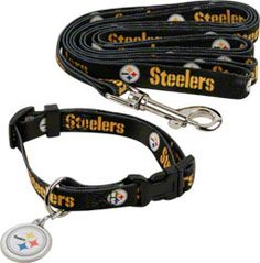 The latest Pittsburgh Steelers merchandise is in stock at FansEdge. Enjoy fast shipping and easy returns on all purchases of Steelers gear, apparel, and memorabilia with FansEdge. Pitsburgh Steelers, Steelers Stuff, Football Stuff, Pittsburgh Steelers Merchandise, Dog Football, Steeler Nation, Dog Collars & Leashes, Collar And Leash, Pet Clothes