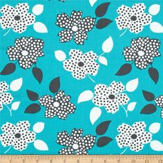 Mimosa Polka Dot Flower Aqua from @fabricdotcom  Designed by Another Point of View for Windham Fabrics, this cotton print fabric is perfect for quilting, apparel and home decor accents. Colors include charcoal, white and dark aqua.