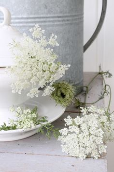 Zinc containers ~ must look out for more of these at the Brocanters market with Queen Anne's Lace or cow parsley which grows free in fields and hedgerows <3