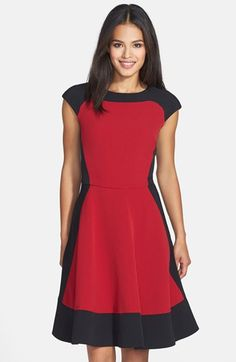Good for your shape but must check fabric content. Maggy London Colorblock Crepe Fit & Flare Dress available at #Nordstrom
