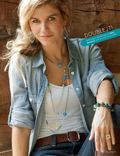 """Last day to get all necklaces at 20%. For everyone who thinks, """"I only wear jeans and boots or flip flops and have nothing to wear your stunning jewelry with""""...take a peek at this beautiful shot! Taken right out of our jewelry catalog! This stunningly beautiful jewelry goes with everything. So mosey on up and start your collection today. Ask Me How! Call me for extra special discounts!  (770) 974-4256"""
