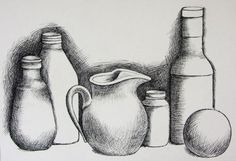 It's a still life drawing that has some elements of cross hatching and shading. Description from art Pencil Art Drawings, Drawing Sketches, My Drawings, Sketching, Shading Drawing, Basic Drawing, Cross Drawing, Basics Of Drawing, Hatch Drawing