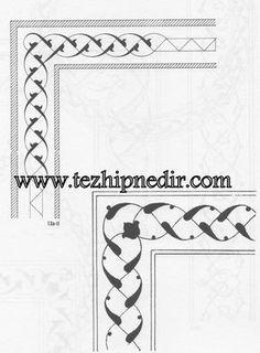 Üç iplik Rumi Bordür Islamic Calligraphy, Calligraphy Art, Border Pattern, Pattern Art, Illumination Art, Islamic Art Pattern, Blackwork, Celtic Patterns, Turkish Art