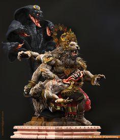 Here i am uploading some images of Lord NARASIMHA.Narasimha is the Avatar of the Hindu god vishnu which is one of the Dashavatara,Based Stories from Hindu Mythology. Lord Ganesha Paintings, Lord Shiva Painting, Dojo, Rudra Shiva, Lord Hanuman Wallpapers, Hindu Statues, Shri Hanuman, Krishna Statue, Lord Krishna Images