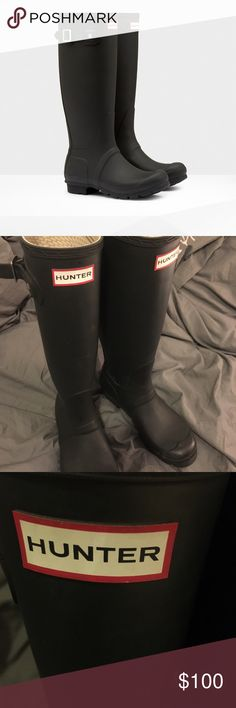HUNTER original slim 7US - used Used hunter original matte black rain boots ☔️ Worn for one season. Size 7US. There are a few small smudges, which can be seen in the photos posted, however when wearing them they are not very noticeable. Always open for offers 💗 Hunter Boots Shoes Winter & Rain Boots