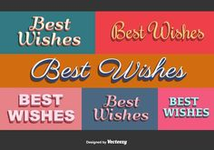 """Best Wishes Vector Cards -   Set of 6 colorful retro """"Best Wishes"""" card vectors.   - https://www.welovesolo.com/best-wishes-vector-cards/?utm_source=PN&utm_medium=weloveso80%40gmail.com&utm_campaign=SNAP%2Bfrom%2BWeLoveSoLo"""