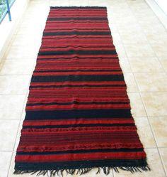 Stripes Red Black...Antique Anatolian Kilim Rug Runner  Area by VintageHomeStories