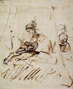 Rembrandt: Judith Beheading Holfernes (1653) ink