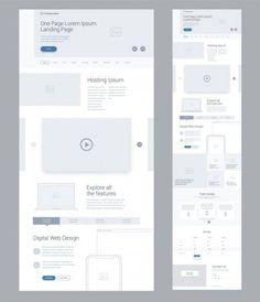 Eine Seite Website-Design-Vorlage für Unternehmen. Landung Seite Wireframe Digital Web. Flache moderne ansprechende Design. UX-Benutzeroberfläche-Webseite: hosting, Video, Technik, Galerie, Referenzen, Preise, kontaktieren Sie uns. — Stockillustration Flat Web Design, Minimal Web Design, Ui Ux Design, Interface Design, Interface Web, Dashboard Design, Design Responsive, Wireframe Design, Modern Web Design