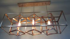 Modern Industrial Geometric Copper Hanging by KhalimaLights