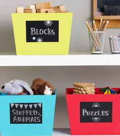 Back to School Chalkboard Storage Bins | School Supply Storage from @joannstores