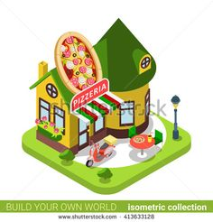 #Pizzeria #cafe #restaurant #shop #pizza #building in #flat #isometric style.